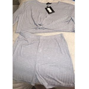 Grey tie front rib knitted short set